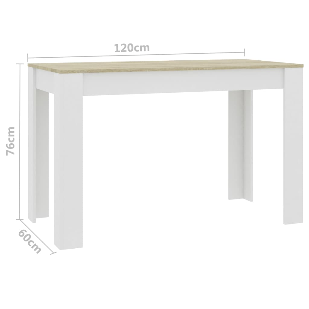 Dining Table White and Sonoma Oak 120x60x76 cm Chipboard 6