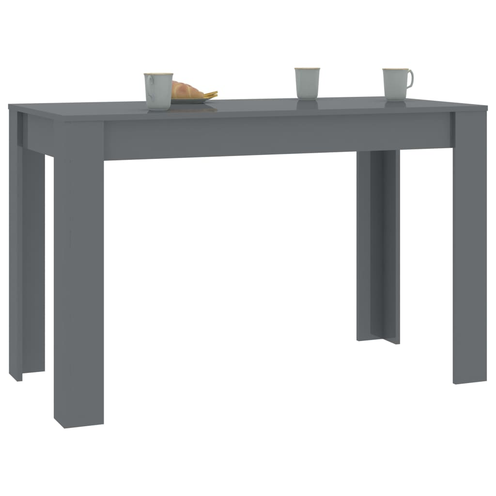 Dining Table High Gloss Grey 120x60x76 cm Chipboard 3
