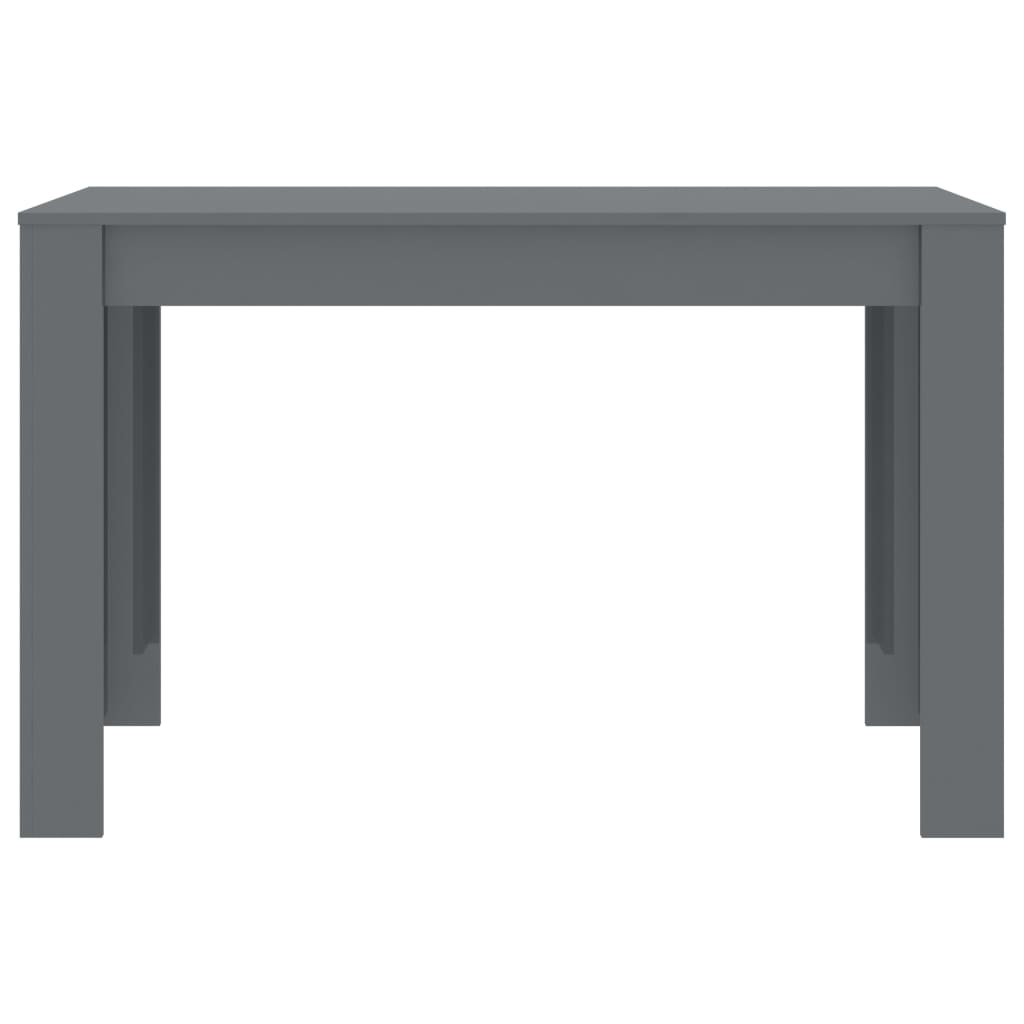 Dining Table High Gloss Grey 120x60x76 cm Chipboard 4