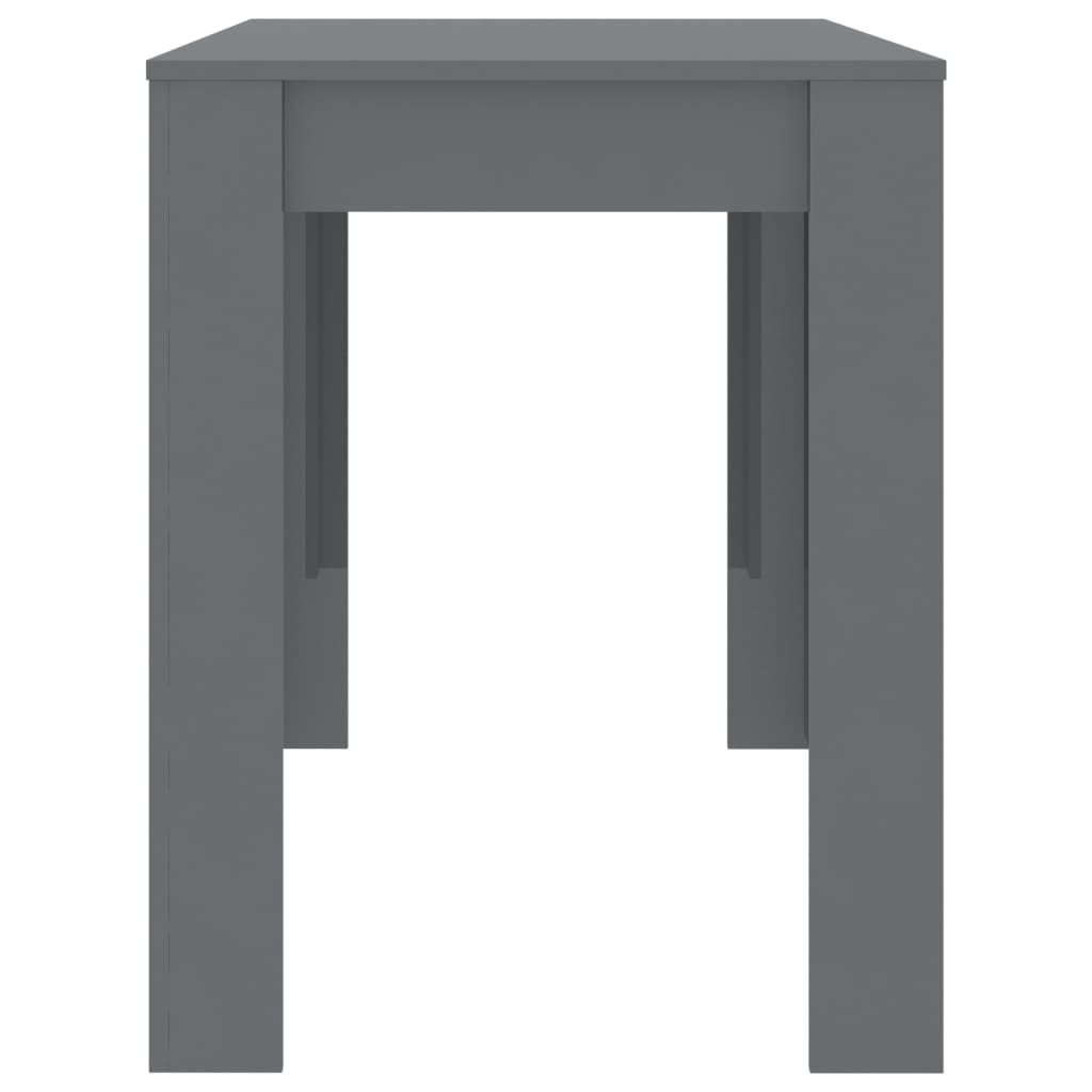 Dining Table High Gloss Grey 120x60x76 cm Chipboard 5