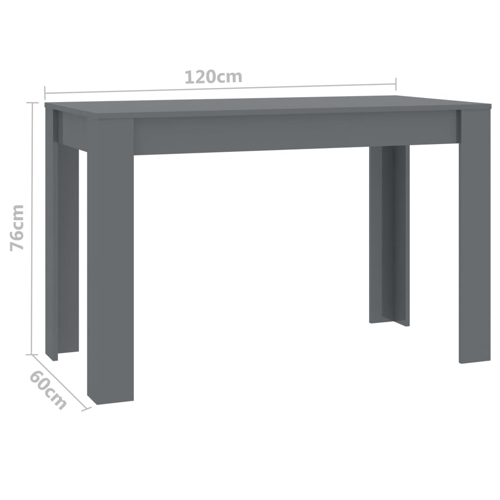 Dining Table High Gloss Grey 120x60x76 cm Chipboard 6