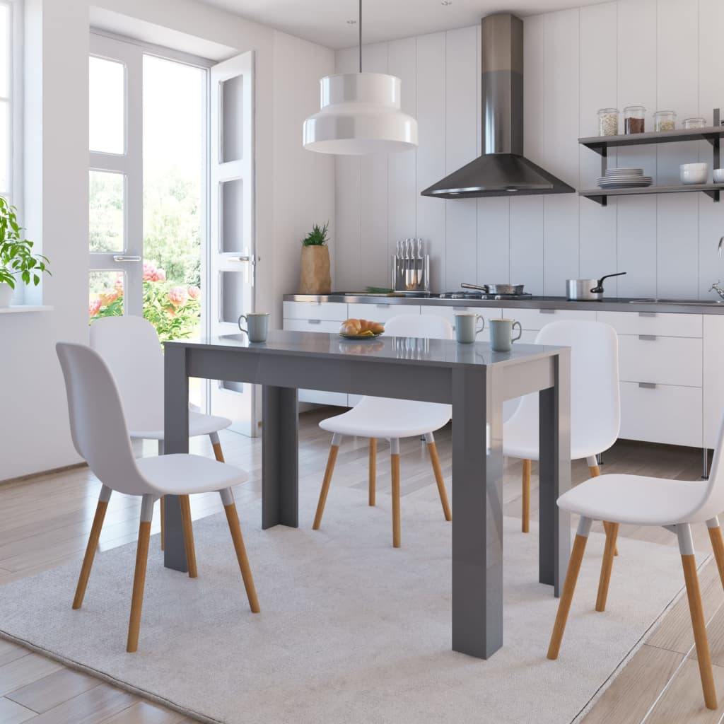 Dining Table High Gloss Grey 120x60x76 cm Chipboard 1