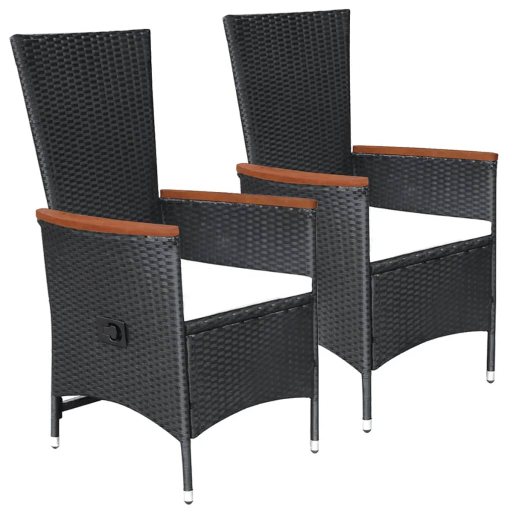 Outdoor Chairs 2 pcs with Cushions Poly Rattan Black