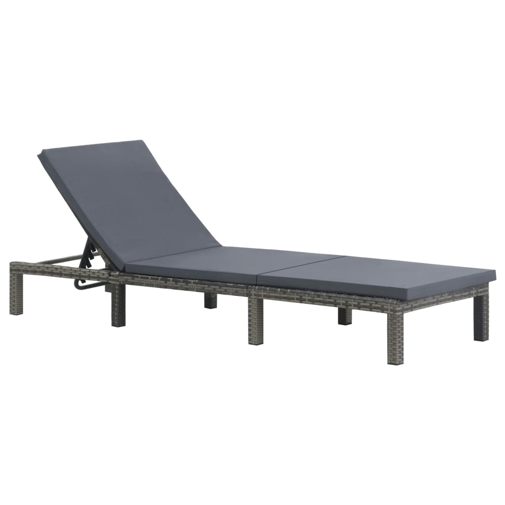 Sun Lounger with Cushion Poly Rattan Anthracite