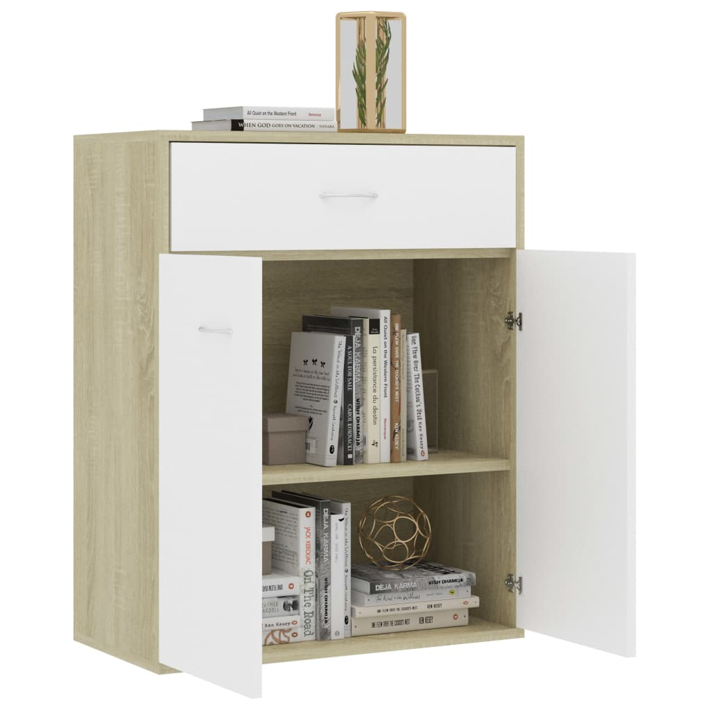 Sideboard White and Sonoma Oak 60x30x75 cm Chipboard 4