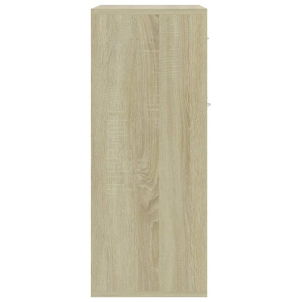 Sideboard White and Sonoma Oak 60x30x75 cm Chipboard 8