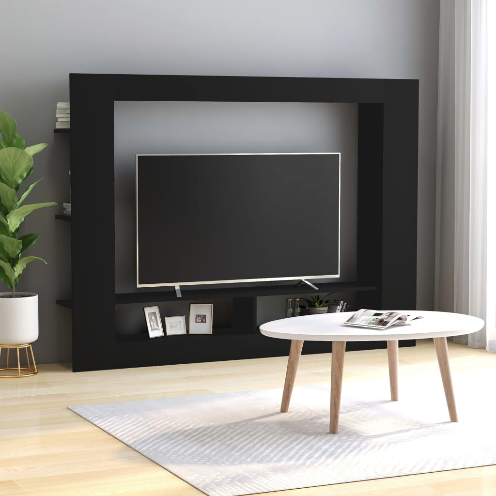 TV Cabinet Black 152x22x113 cm Chipboard