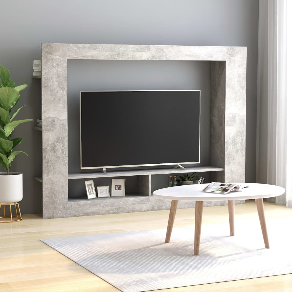 TV Cabinet Concrete Grey 152x22x113 cm Chipboard