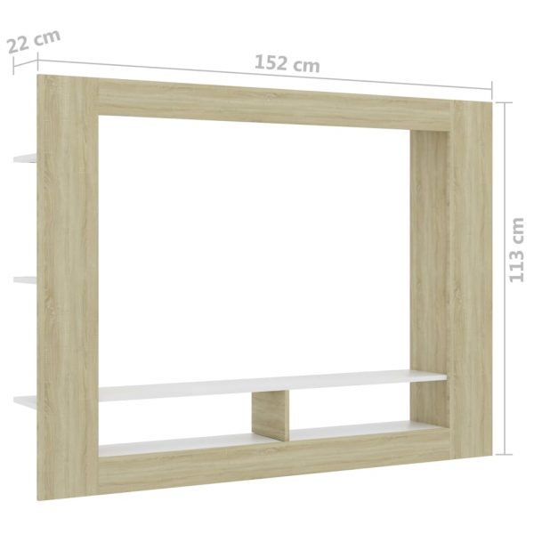 TV Cabinet White and Sonoma Oak 152x22x113 cm Chipboard 6