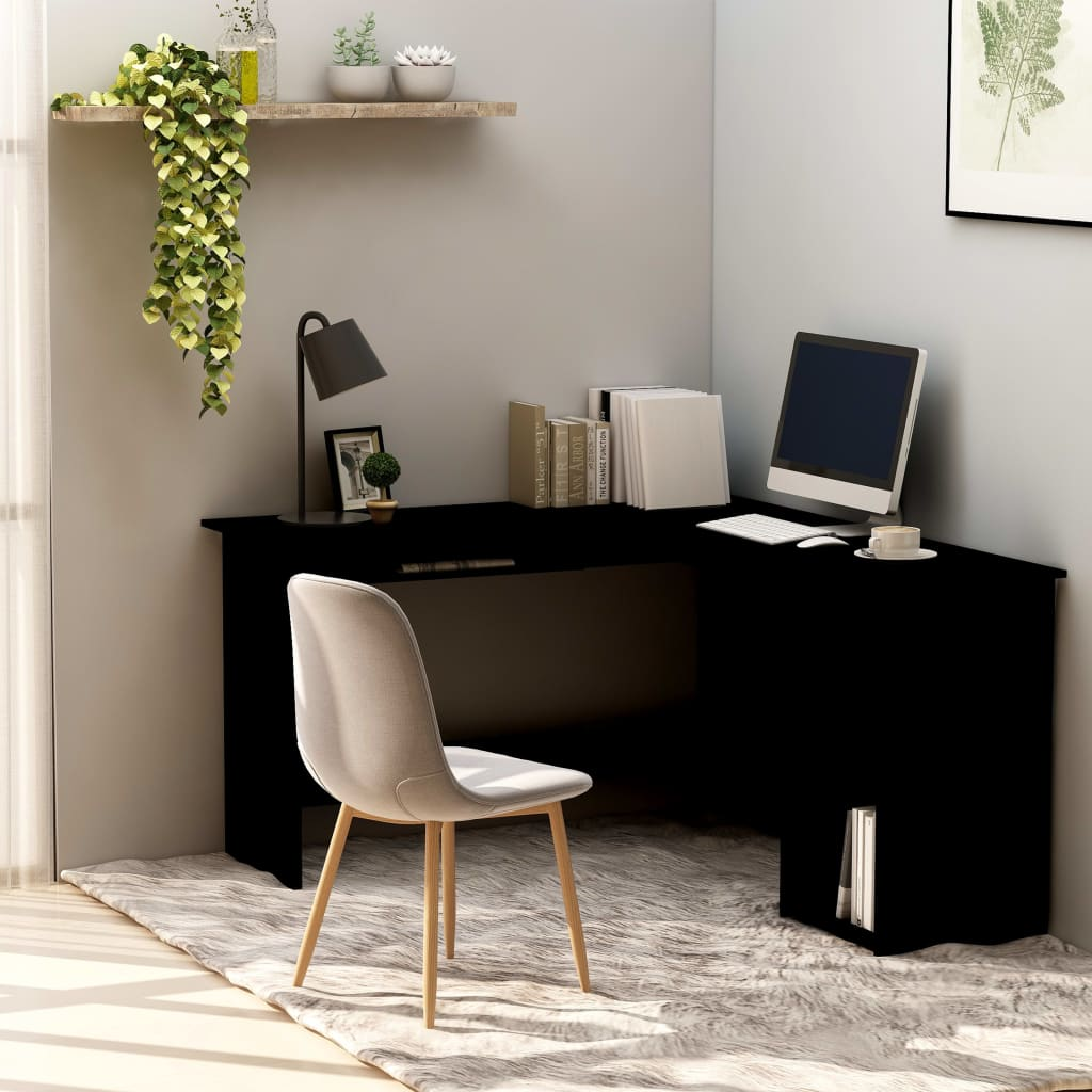 L-Shaped Corner Desk Black 120x140x75 cm Chipboard