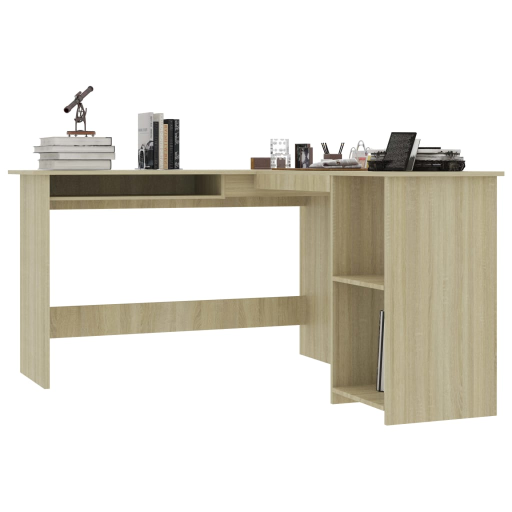 L-Shaped Corner Desk Sonoma Oak 120x140x75 cm Chipboard 3