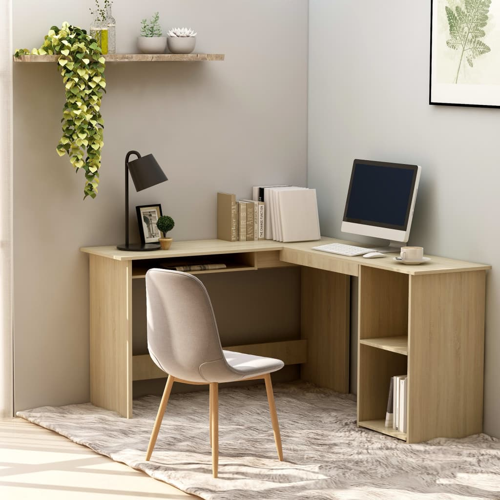 L-Shaped Corner Desk Sonoma Oak 120x140x75 cm Chipboard 1