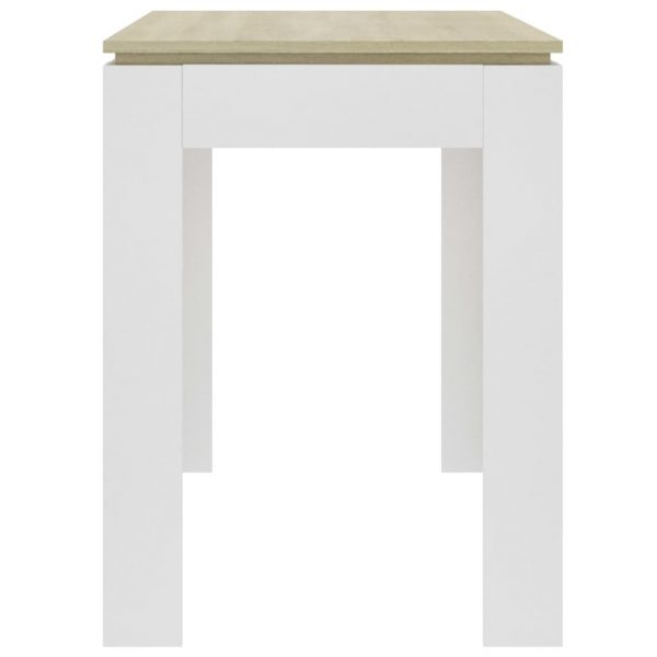 Dining Table White and Sonoma Oak 120x60x76 cm Chipboard 5
