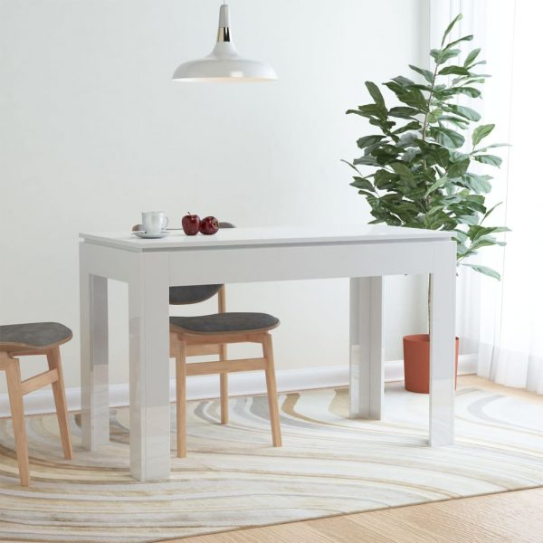 Dining Table High Gloss White 120x60x76 cm Chipboard 1