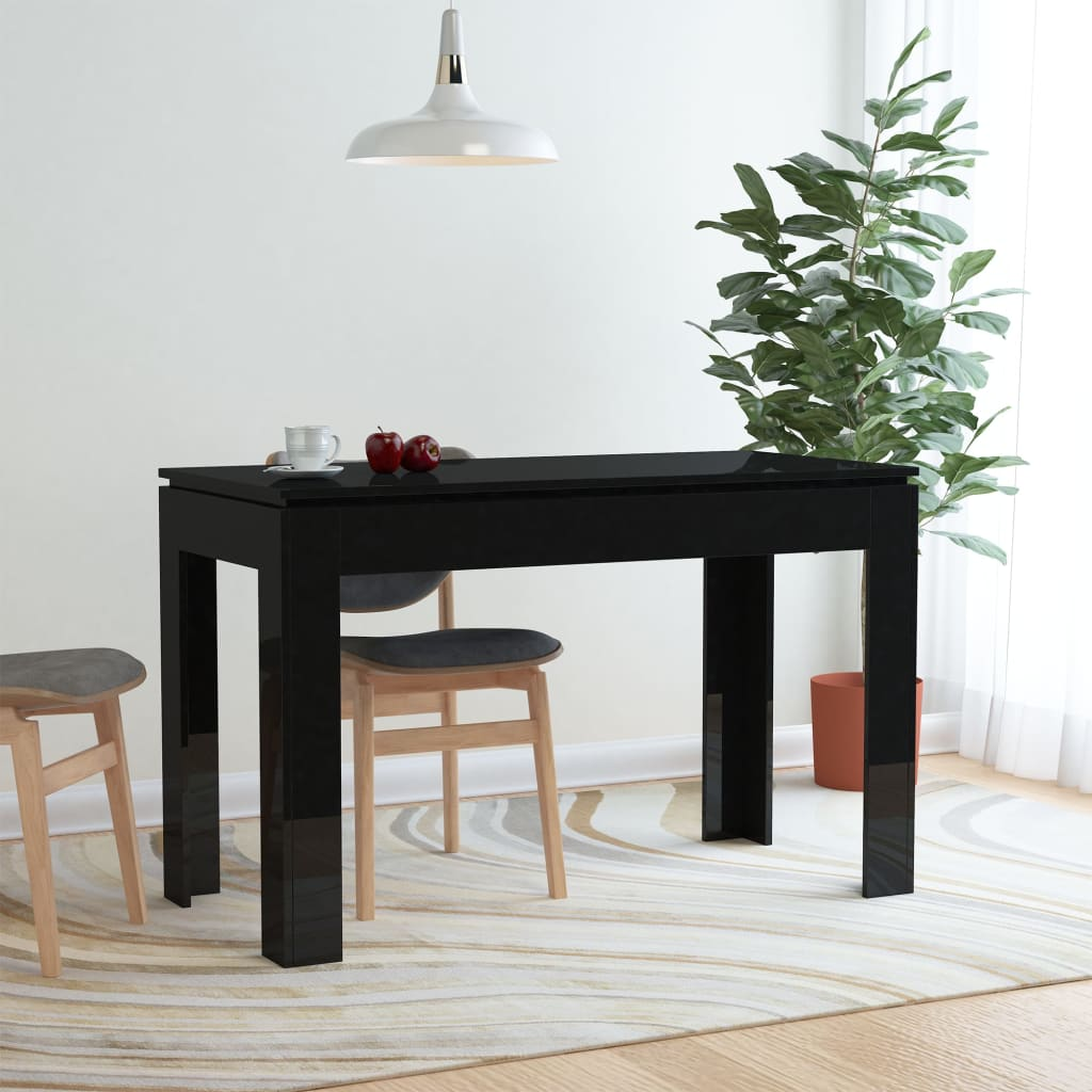 Dining Table High Gloss Black 120x60x76 cm Chipboard