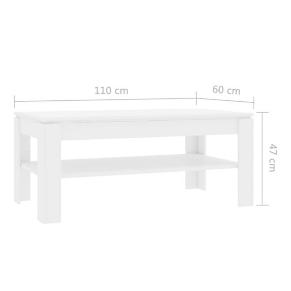 Coffee Table White 110x60x47 cm Chipboard 6