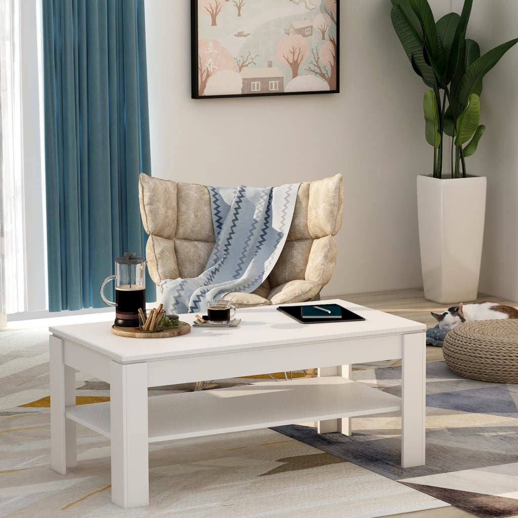 Coffee Table White 110x60x47 cm Chipboard 1