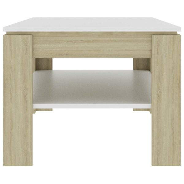 Coffee Table White and Sonoma Oak 110x60x47 cm Chipboard 3