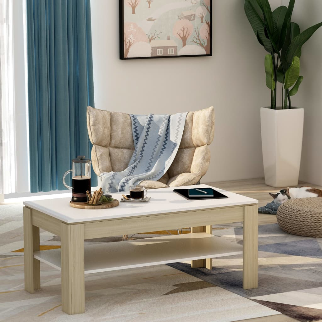 Coffee Table White and Sonoma Oak 110x60x47 cm Chipboard