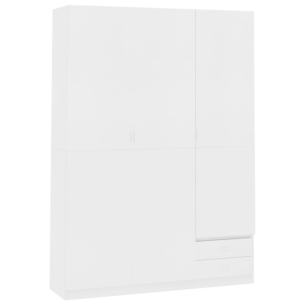3-Door Wardrobe White 120x50x180 cm Chipboard 2