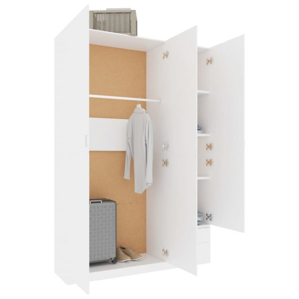 3-Door Wardrobe White 120x50x180 cm Chipboard 3