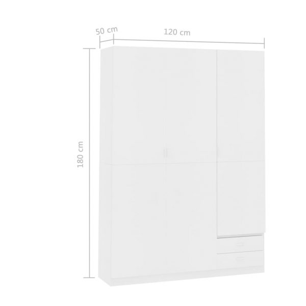 3-Door Wardrobe White 120x50x180 cm Chipboard 7