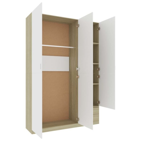 3-Door Wardrobe White and Sonoma Oak 120x50x180 cm Chipboard 4