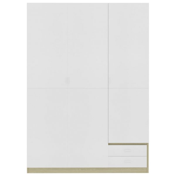 3-Door Wardrobe White and Sonoma Oak 120x50x180 cm Chipboard 5