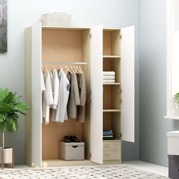 3-Door Wardrobe White and Sonoma Oak 120x50x180 cm Chipboard 1