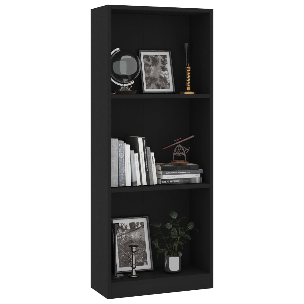 3-Tier Book Cabinet Black 40x24x108 cm Chipboard 3