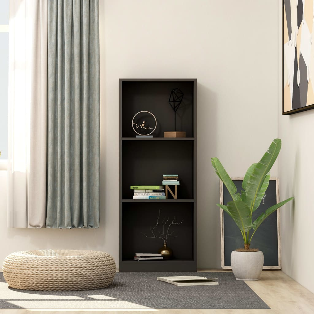 3-Tier Book Cabinet Black 40x24x108 cm Chipboard 1