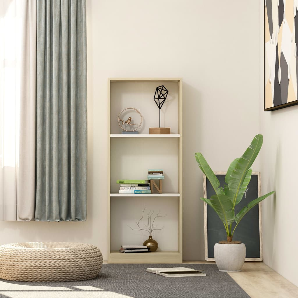 3-Tier Book Cabinet White and Sonoma Oak 40x24x108 cm Chipboard