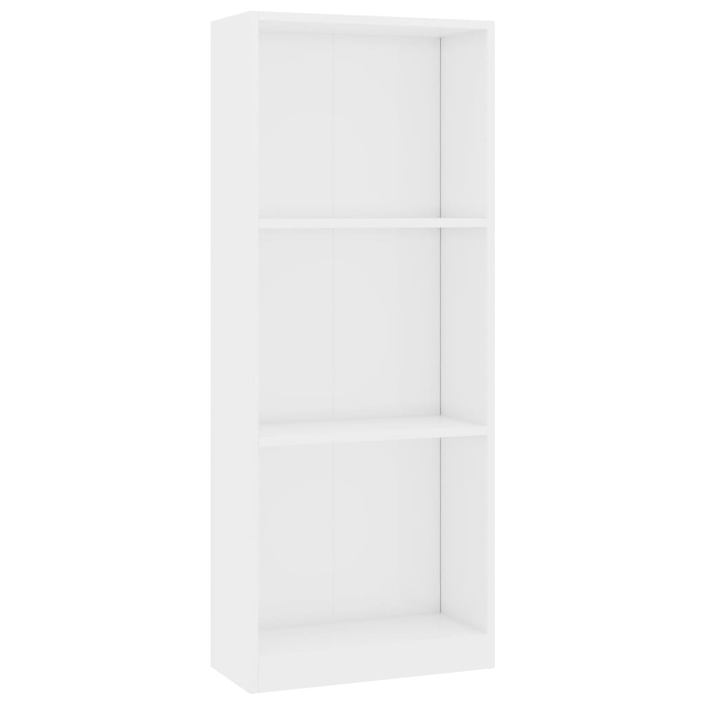 3-Tier Book Cabinet High Gloss White 40x24x108 cm Chipboard 2