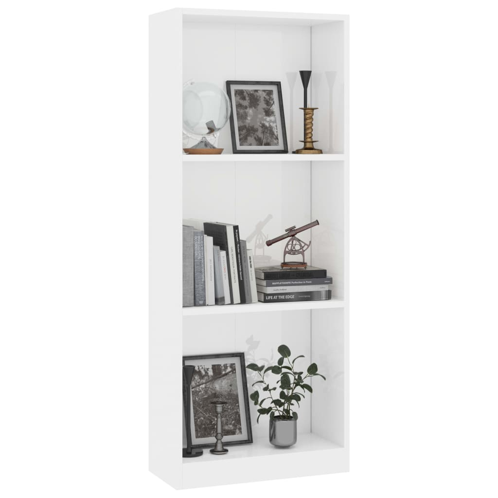 3-Tier Book Cabinet High Gloss White 40x24x108 cm Chipboard 3