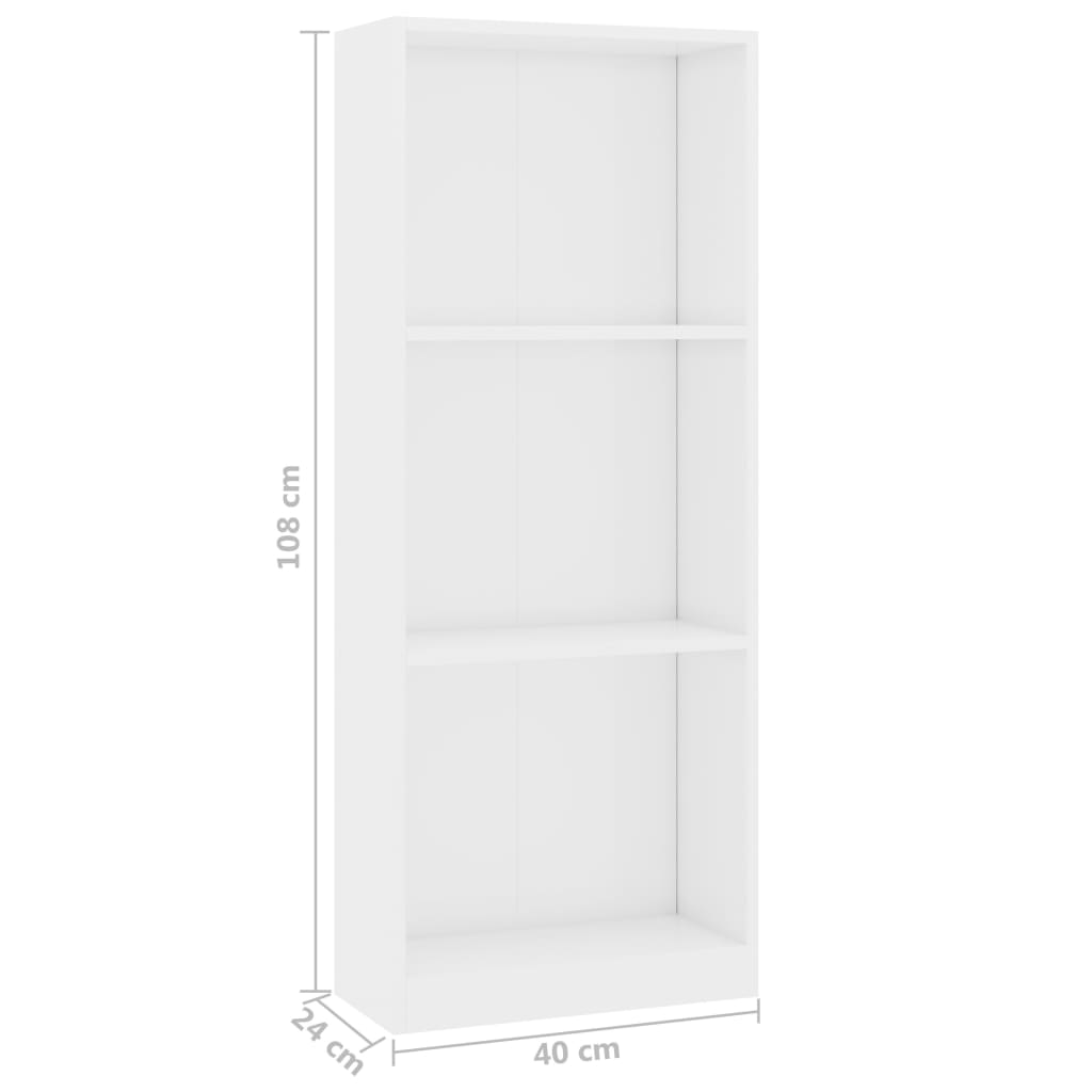 3-Tier Book Cabinet High Gloss White 40x24x108 cm Chipboard 6