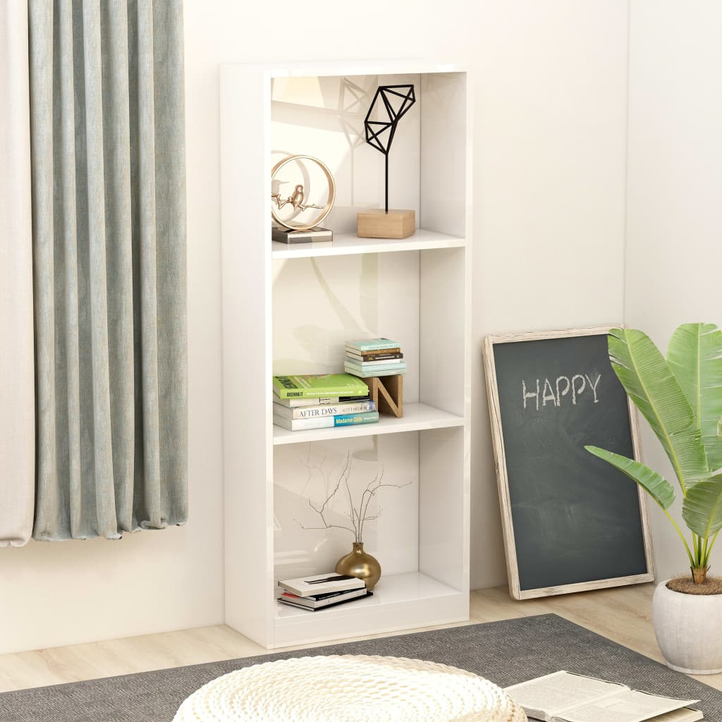 3-Tier Book Cabinet High Gloss White 40x24x108 cm Chipboard 1