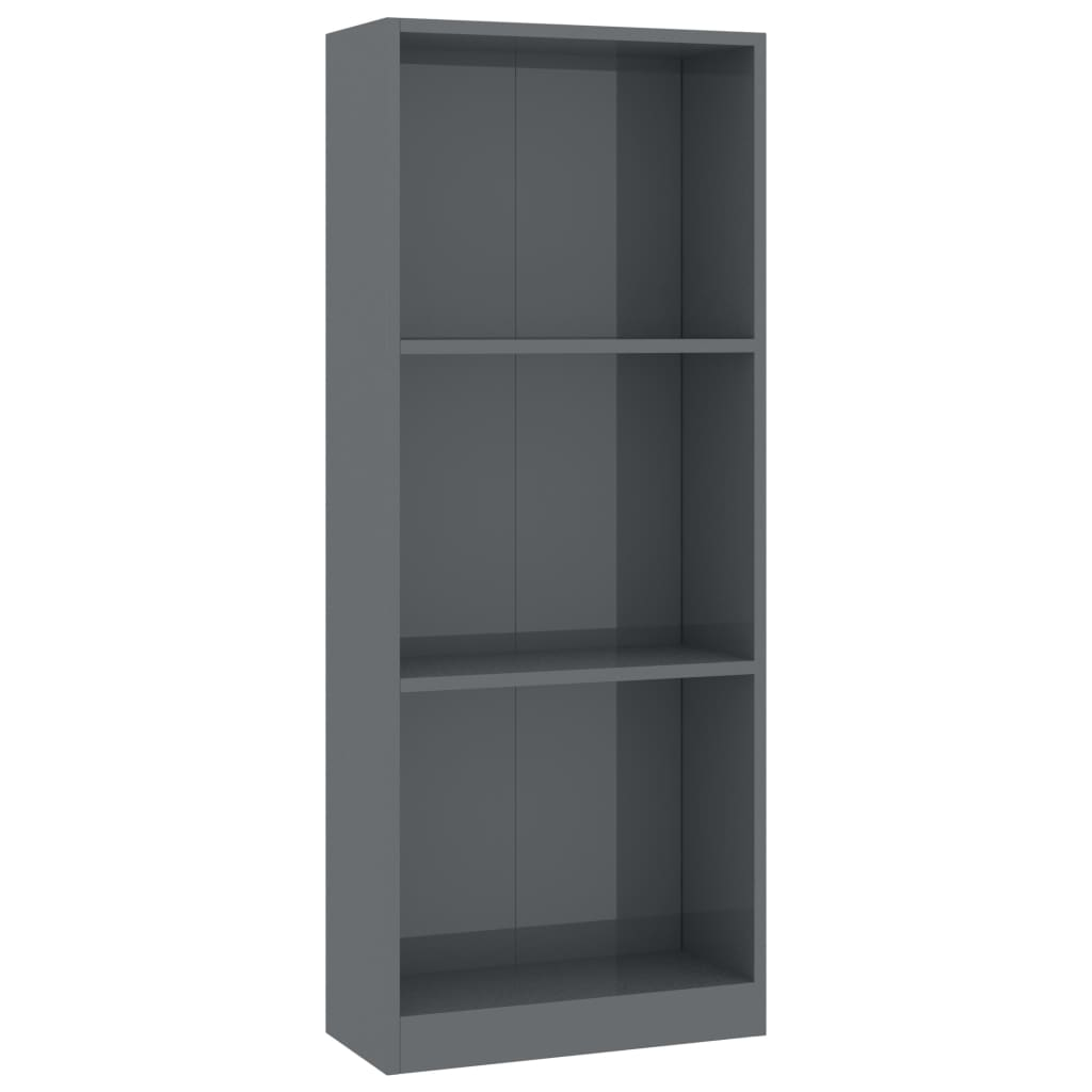 3-Tier Book Cabinet High Gloss Grey 40x24x108 cm Chipboard 2