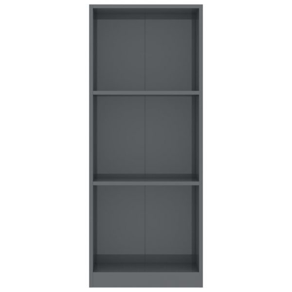 3-Tier Book Cabinet High Gloss Grey 40x24x108 cm Chipboard 4