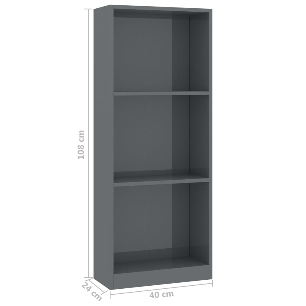 3-Tier Book Cabinet High Gloss Grey 40x24x108 cm Chipboard 6