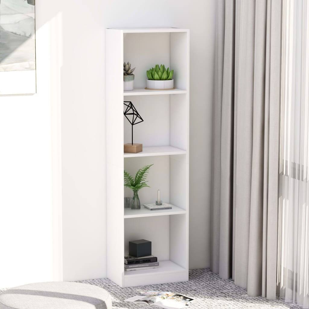 4-Tier Book Cabinet White 40x24x142 cm Chipboard