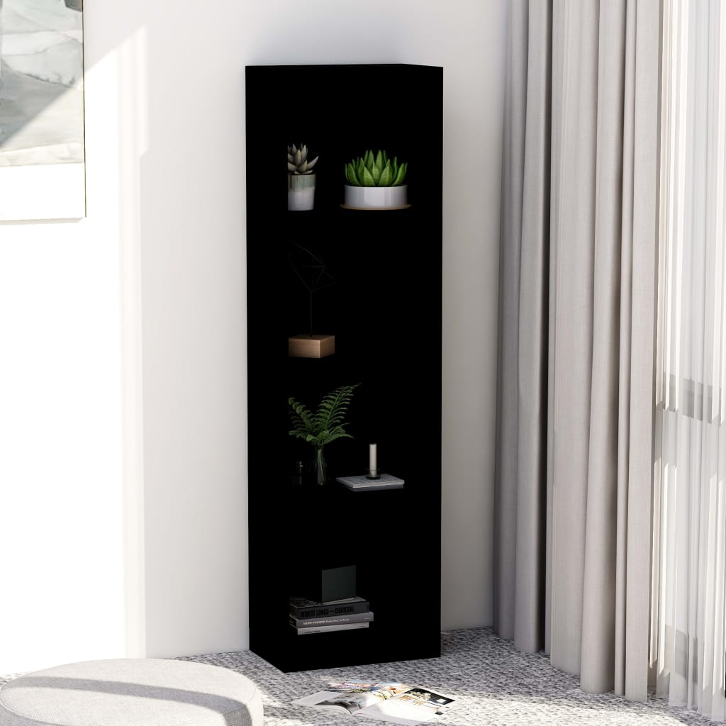 4-Tier Book Cabinet Black 40x24x142 cm Chipboard