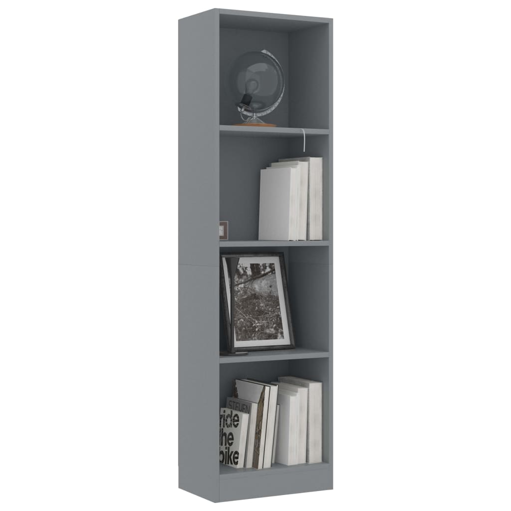 4-Tier Book Cabinet Grey 40x24x142 cm Chipboard 3