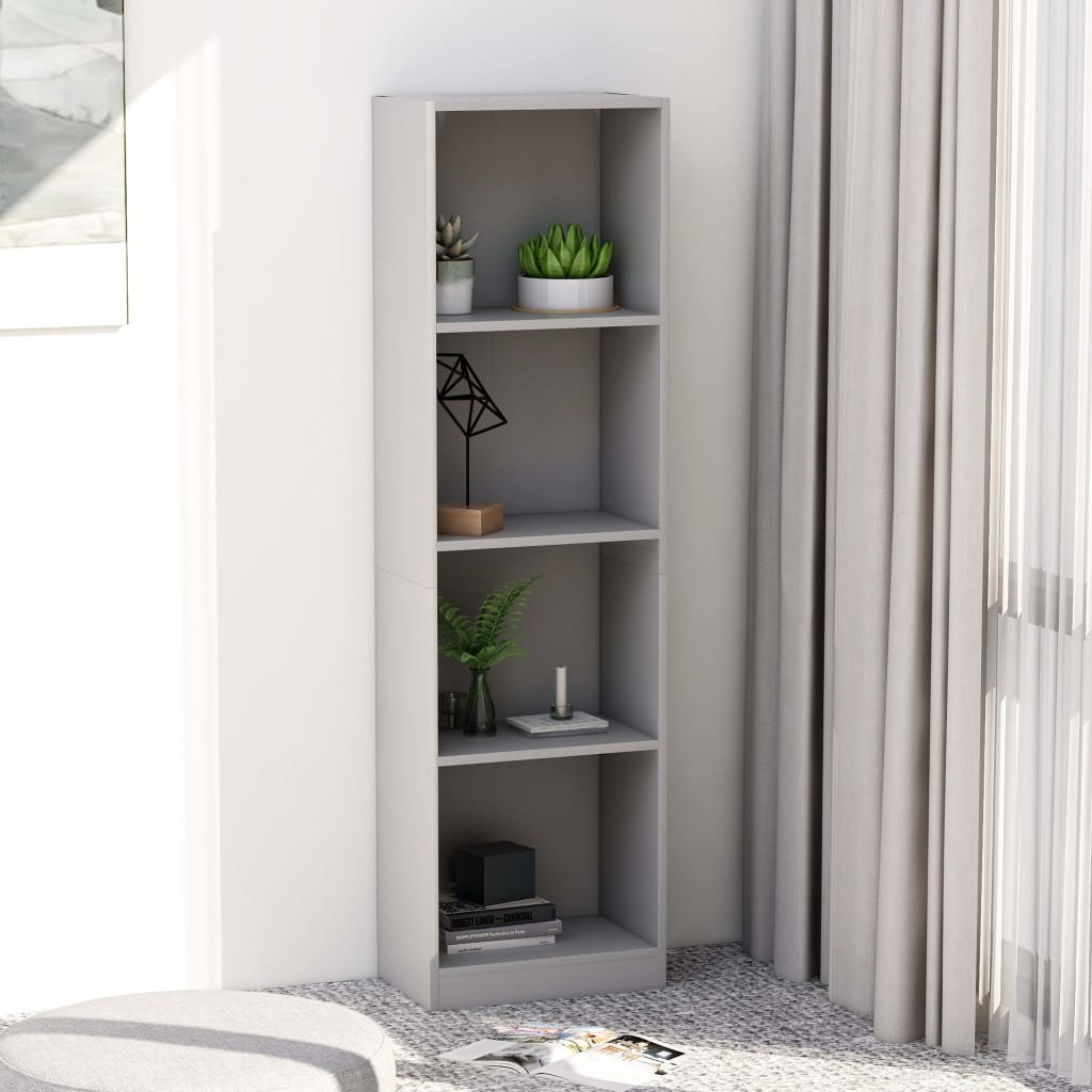 4-Tier Book Cabinet Grey 40x24x142 cm Chipboard