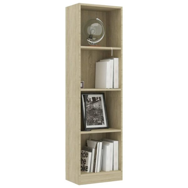 4-Tier Book Cabinet Sonoma Oak 40x24x142 cm Chipboard 3