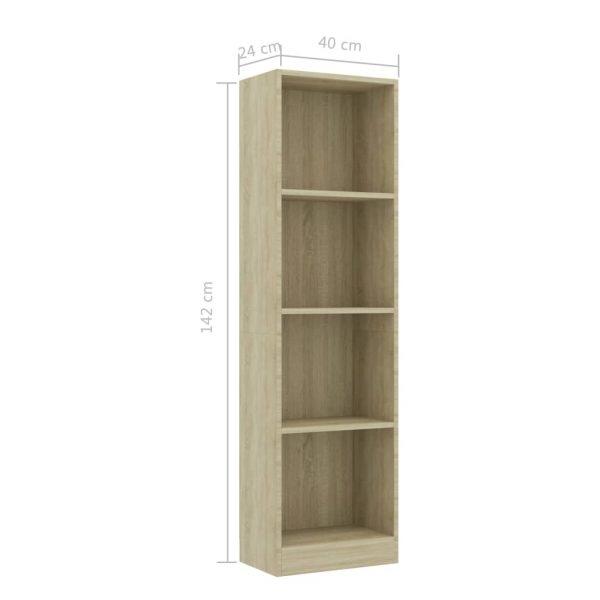 4-Tier Book Cabinet Sonoma Oak 40x24x142 cm Chipboard 6