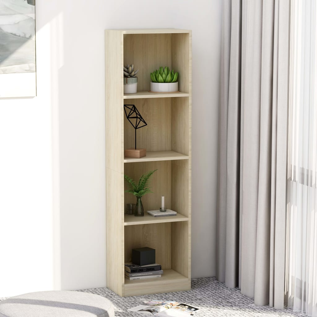 4-Tier Book Cabinet Sonoma Oak 40x24x142 cm Chipboard 1