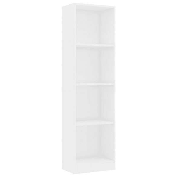 4-Tier Book Cabinet High Gloss White 40x24x142 cm Chipboard 2