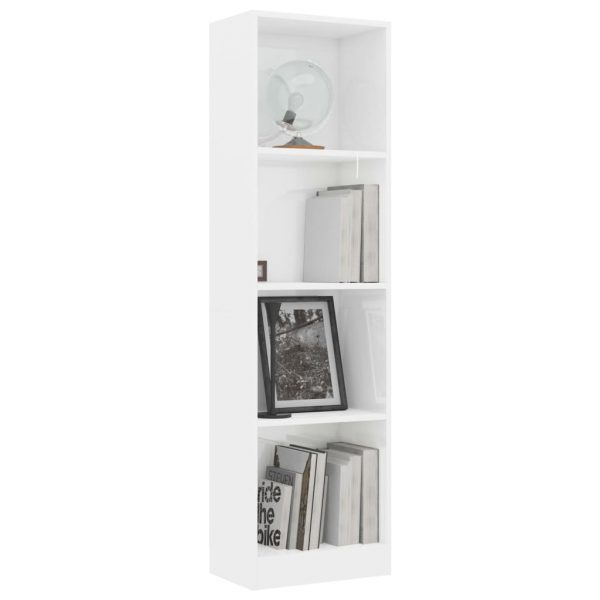 4-Tier Book Cabinet High Gloss White 40x24x142 cm Chipboard 3