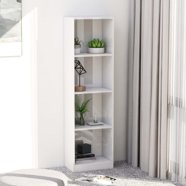 4-Tier Book Cabinet High Gloss White 40x24x142 cm Chipboard 1