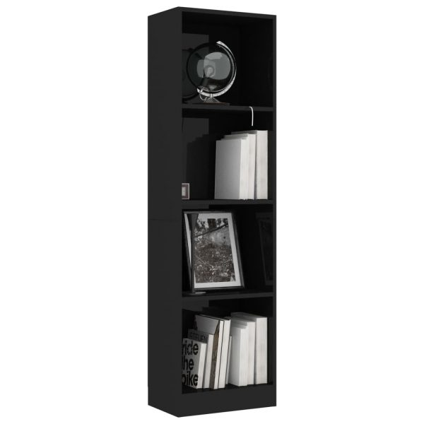 4-Tier Book Cabinet High Gloss Black 40x24x142 cm Chipboard 3